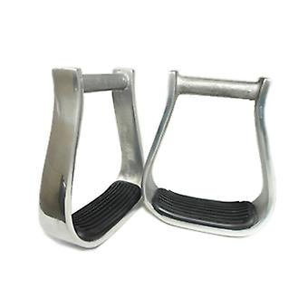 Western Aluminum Barrel Racing Stirrups With Black Rubber Pad Horse Products