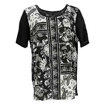 DG2 by Diane Gilman Women's Top Floral Print-Front Tee Black 645-401