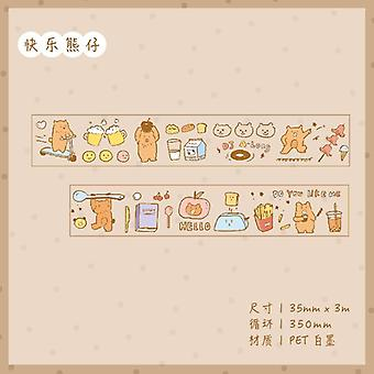 Pet Transparent Washi Tape, Cartoon Cute Animal Masking Paper Craft
