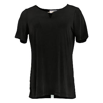 Susan Graver Women's Top Short Sleeve Scoop Neck Black A379117