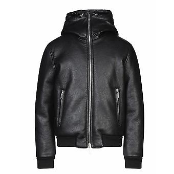 Dsquared2 Faux Leather Shearling Bomber Black Jacket