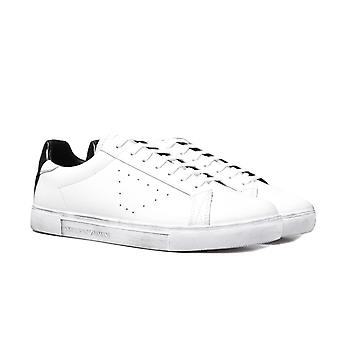 Emporio Armani Contrast Heel White Leather Trainers