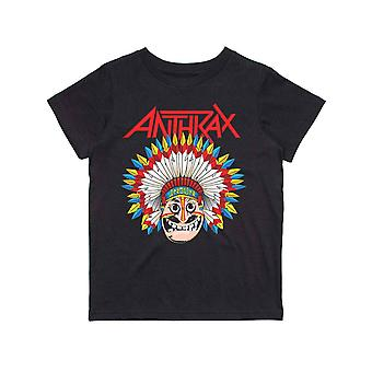 Anthrax Kids T Shirt War Dance Band Logo new Official Black Ages 5-14 yrs