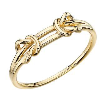 Elementer Guld 9ct Gul Guld Dobbelt Strand Parallel Knude Ring