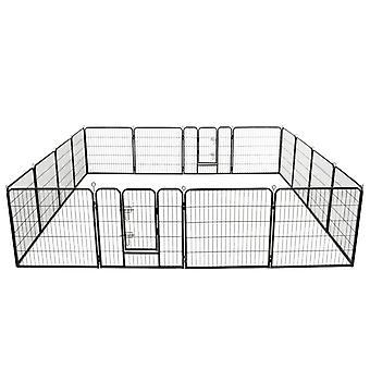 Dog running stable 16 panels steel 80x80 cm Black