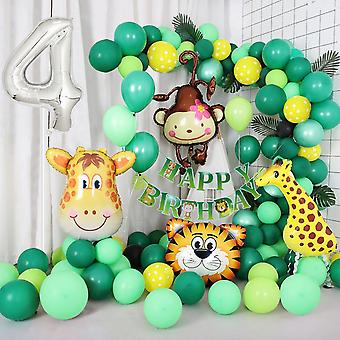 Jungle themed 4th birthday balloon arch decoration diy kit - includes 75+ balloons