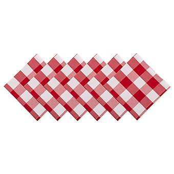Dii Rojo y Blanco Búfalo Chequea Napkin (Conjunto de 6)