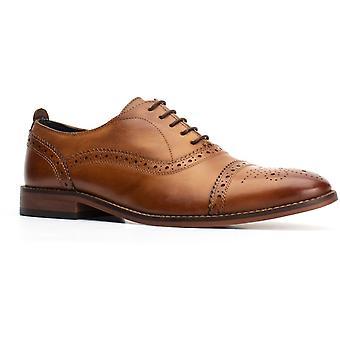 Base cast washed leather mens formal shoes tan UK Size