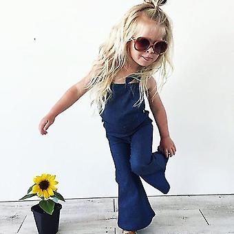 Backless Strap Denim Overall Romper