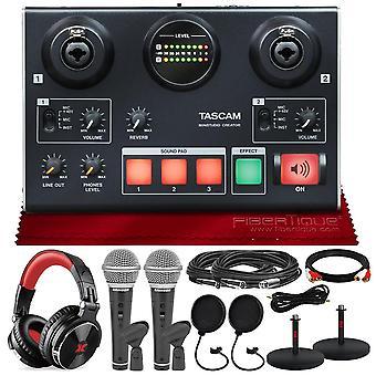 Tascam us-42 minstudio creator interfaz de audio para podcasting con paquete de platino con cables + 2 micrófonos de sansón + auriculares + pop ps88819