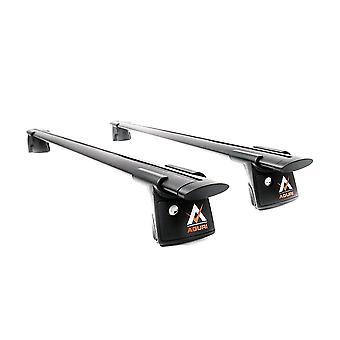 Aguri Runner Black Aluminium Roof Rack Railing Bars (Attach To Raised Roof Rails) 1.2m