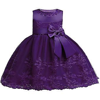 Baby Girls Bowknot Tutu Party Robes Dark Purple