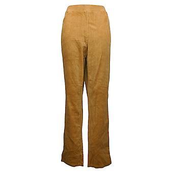 Quacker Factory Women's Pants Knit Corduroy Pull-On Slim Leg Beige A279070