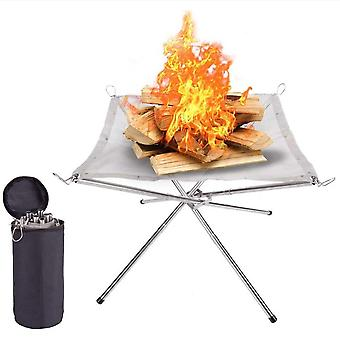 Camping campfire fire rack backyard heating mesh pit folding wood stoves bonfire frame