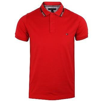 Tommy hilfiger men's primary red 1985 hilfiger collar polo shirt