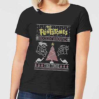Flintstones Rockin Around The Tree Women's Christmas T-Shirt Tee Top - Black