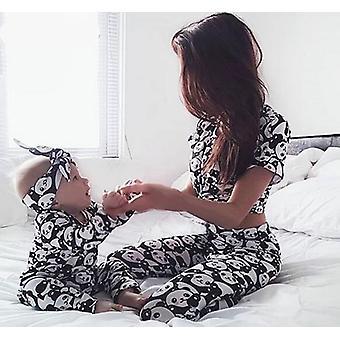 Perhe matching vaatteet asu setti, naiset vauva pyjama