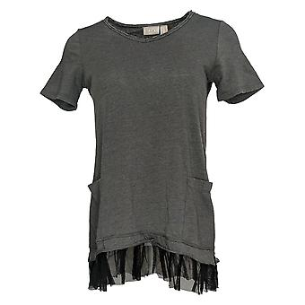LOGO by Lori Goldstein Women's Top (XXS) Washed Jersey Gray A346165