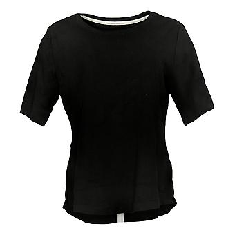 Isaac Mizrahi Live! Frauen's Top Essentials Shirttail Saum schwarz A392832