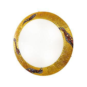 Lámpara de techo al ras con estampado de vidrio de diseño de oro pulido - Patrón kiss gold, 3x E27