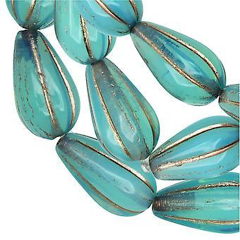 Czech Glass Beads, Melon Drop 13x8mm, Aqua Blue Opaline, Platinum Wash, 1 Strand, by Raven's Journey