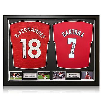 Bruno Fernandes ja Eric Cantona allekirjoittivat Manchester United -paidat. Kaksi kehystä