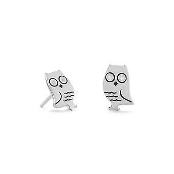 925 Sterling Silver och Emalj Owl Stud Örhängen 10mm X 6.5mm Smycken Gåvor för kvinnor
