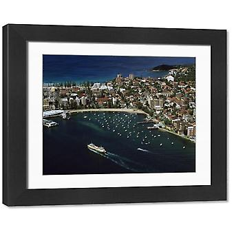 JPF-13660 Manly and Manly Cove with ferry approaching terminal. Framed Photo. JPF-13660 <br>Manly.