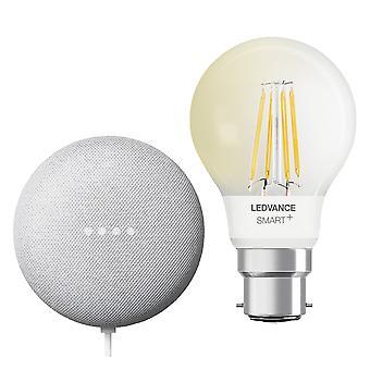 Ledvance LV542723  Google Nest Mini & Ledvance Smart+ Bluetooth B22D Filament Bulb Bundle UK Plug