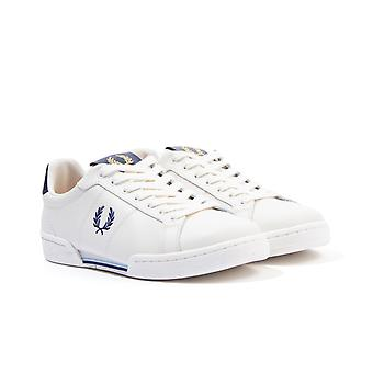 Fred Perry B722 Leather Tab Trainers - Snow White