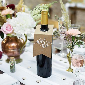 Kraft braun Hochzeit Flasche Aufhänger 'Wir tun' Trinken für Sie Set von 10