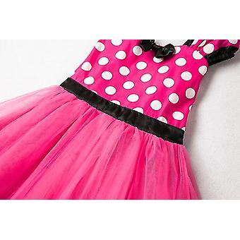 Meninas do desenho animado polka dot vestido princesa festa tutu saia rosa vermelho tamanho 120