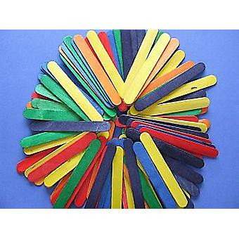 25 Large Coloured Wooden 15cm Craft Lolly Sticks