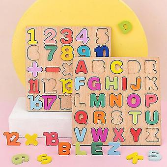 3D Puzzle Wooden Board with Colorful Alphabet Number Kids Early Educational Busy Board Toy Matching