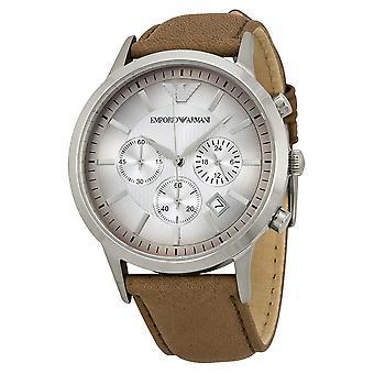 Emporio Armani AR2471 Renato Marrón Correa de cuero texturizado Degradar fecha Ventana Dial Reloj para hombres