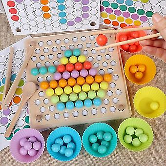 Montessori Wooden Beads Game Educational Early Learn Children Clip Ball Puzzle Preschool Toddler Toy