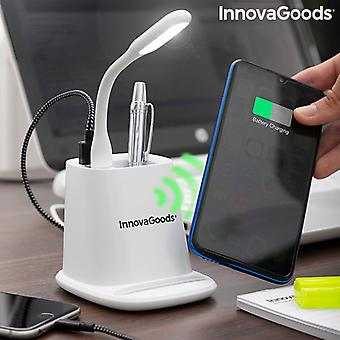 5-in-1 Wireless Charger with Organiser-Stand and USB LED Lamp DesKing InnovaGoods