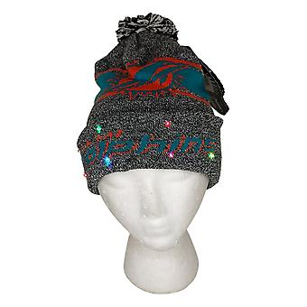 NFL Miami Dolphins LED Lighted Stripe Beanie Gray Knit Chapeau d'hiver A371654