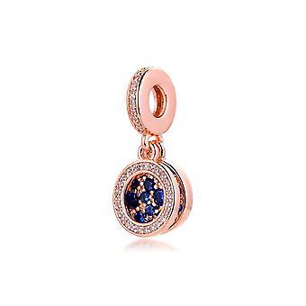 Karkötők Csillogó Kék Korong Double Rose Dangle Charms 925 Sterling Ezüst Ékszer | Varázsa