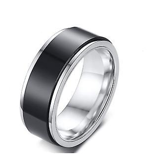 Anello in acciaio titanio girevole Moda Doppio Anello alla moda