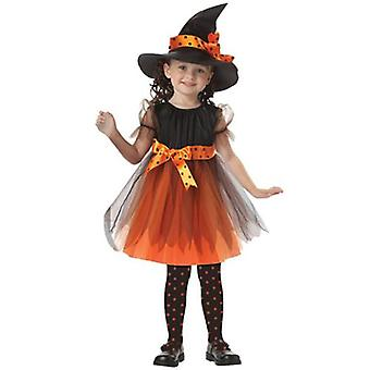 Halloween Kids Girls Witch Cosplay Fantasia Fantasia Vestido Conjunto de Roupas
