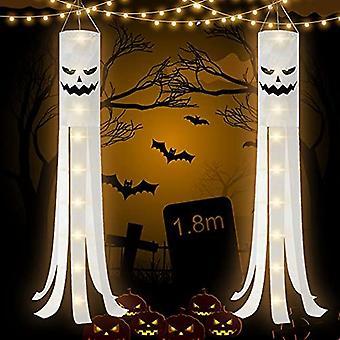 180cm هالوين Windsocks مع الضوء 2 مجموعات هالوين Windsock أعلام لتعليق هالوين الديكور شنقا Windsocks مع الجانبين المزدوج تصميم الشبح