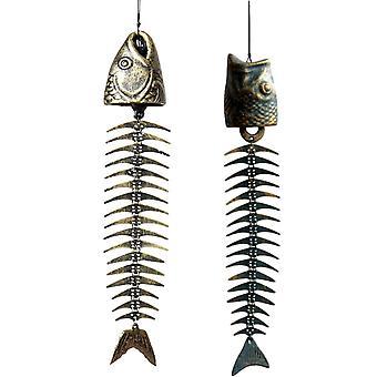 Fishbones Wind Chimes Classic Retro Fish Bone Wind Chimes Ornaments Metal Wind Chimes Garden Living