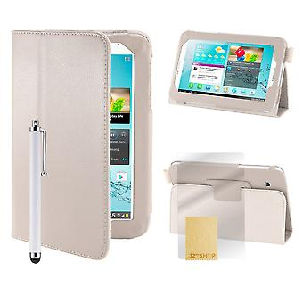 """Book Leather case cover for Samsung Galaxy Tab 2, 7"""" (P3100) - White"""