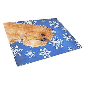 Brussels Griffon Winter Snowflakes Holiday Glass Cutting Board Large
