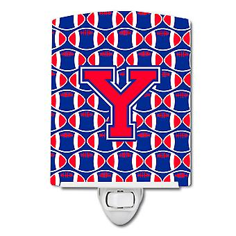 Letter Y Football Harvard Crimson and Yale Blue Ceramic Night Light