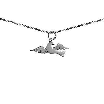 Silver 27x10mm fågel hänge med rolo Chain 14 tum endast lämplig för barn
