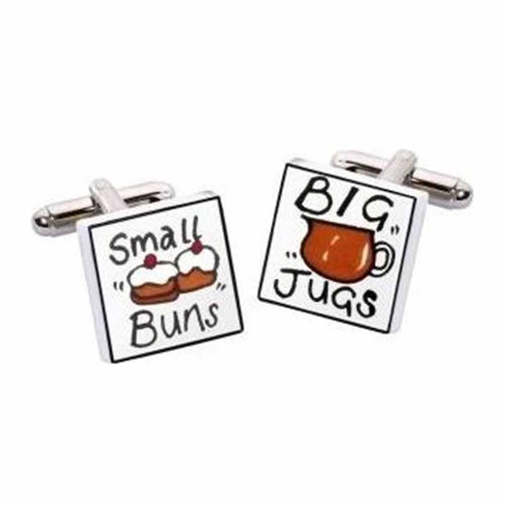 Small Buns Big Jugs Cufflinks by Sonia Spencer, in Presentation Gift Box. Hand painted