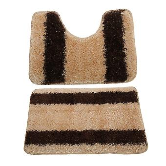 2 Piece Striped Shaggy Bath Mat And Pedestal Mat Set