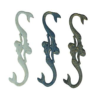 Three Cast Iron Mermaids White, Gray, and Blue Plant Hanging Hooks